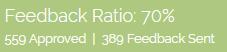 feedback ratio: 70%